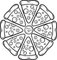 zwart-wit pizza slice hand getrokken doodle illustratie vector