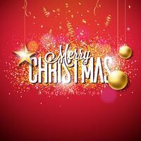 Vrolijke Kerstmisillustratie op glitteryachtergrond vector