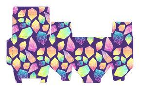 Sjabloon patroon doos met kristallen. vector