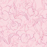 Naadloos retro patroon met orchidee