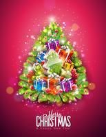 Vrolijke Kerstmisillustratie op Glanzende Rode Achtergrond