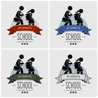 Terug naar school logo ontwerp.