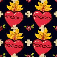 Sacred Heart, cross, rose seamless pattern old schooll tattoo style. vector