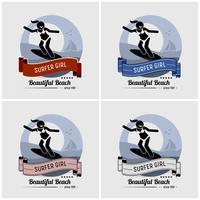 Surfer meisje surfen logo ontwerp. vector
