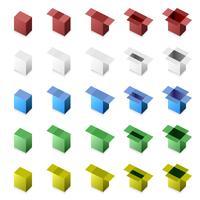 3D Box Close to Open (stap voor stap). vector