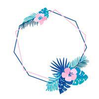 Geometrische zomer krans met tropische palm bloem en plaats voor tekst. Vlak kruid abstract vectortuinframe. bruiloft kaart, decoratie element monstera bloemen geïsoleerde illustratie vector