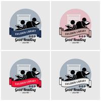 Kinder bibliotheek logo ontwerp. vector