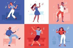 dansende mensen met koptelefoon ontwerpconcept vector