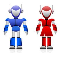 Mannelijke en vrouwelijke robot. vector