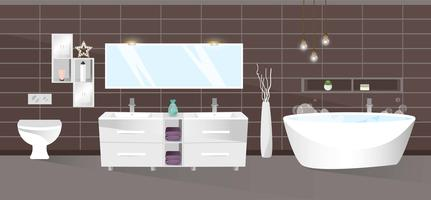 Modern badkamersbinnenland. Vector illustratie.