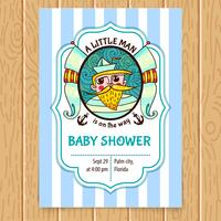 De Uitnodiging van het baby shower met zeekapitein. vector
