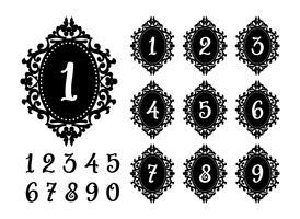 Lasersnijden nummers sjabloon voor de feestelijke tafel. vector