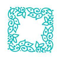 De turkooise vectormonolinekalligrafie bloeit frame voor groetkaart. Vintage Hand getekend floral monogram elementen. Schets doodle ontwerp met plaats voor tekst. Geïsoleerde illustratie