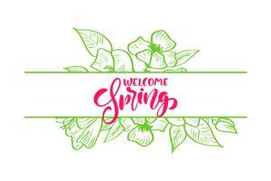 Boeket van bloemen vector wenskaart met rode handgeschreven tekst Hello lente