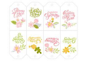 Set van Lente bloem kruiden tags met kalligrafische letters tekst vector