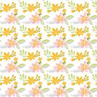 Vector naadloos patroon met vlakke bloemboeket en bladeren