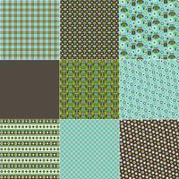 Blauwe en groene uil patronen