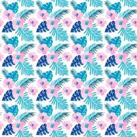 Vector zomer naadloze patroon met platte bloemen en tropische bladeren van Monstera