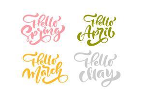 Set van zes hello lente april, maart, mei Pastel kalligrafie letters zinnen vector