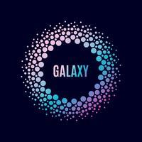 Poster Galaxy. Halfton cirkelframe vector