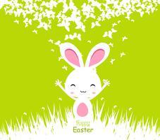 Gelukkige Pasen-kaartenillustratie met Pasen-konijntje