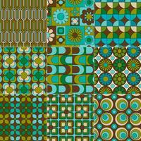 mod naadloze blauw groen bruine patronen vector