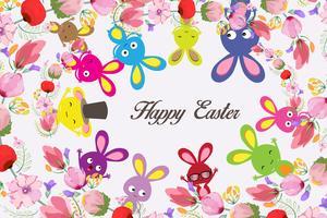Mooie gelukkige Pasen-kaart met konijntje en bloemenkroon