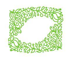 De vector groene monolinekalligrafie bloeit frame voor groetkaart