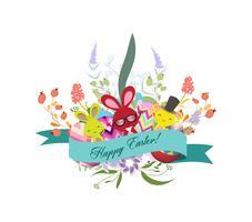 De groetkaart van Pasen met Pasen-konijn met bloemenkroon