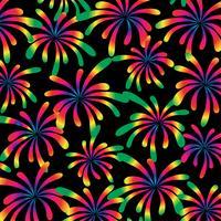 regenboog vuurwerk patroon op zwarte achtergrond