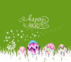 gelukkige paaseieren en konijntjesachtergrond met witte paardebloemen