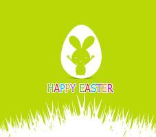 Gelukkige Pasen-kaartenillustratie met Pasen-konijntje binnen ei