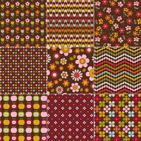 naadloze retro bloemen en geometrische patronen vector