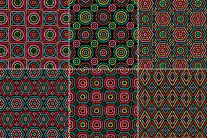 oma vierkante patronen op een zwarte achtergrond vector
