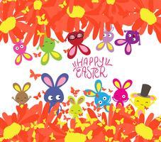 Gelukkige Pasen met konijn, zonnebloemen en vlindersachtergrond