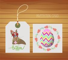 Gelukkige Pasen-kaart met konijn en ei