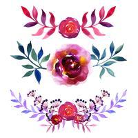 Verzameling van mooie aquarel bloemen