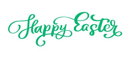 Groene Happy Easter handgeschreven belettering tekst vector