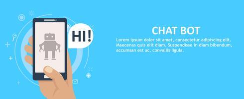 Chat bot op de telefoon in de hand. Banner. Platte vectorillustratie vector