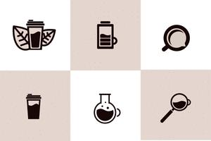 Koffie web icon set - beker, energie, drinken mee te nemen. Logo-object met zwarte lijn. Vector lijn illustratie