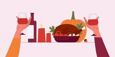 happy thanksgiving.vector cartoon illustratie van thanksgiving day vector