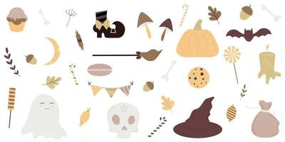 halloween vakantie schattig element ingesteld op een witte achtergrond. vector