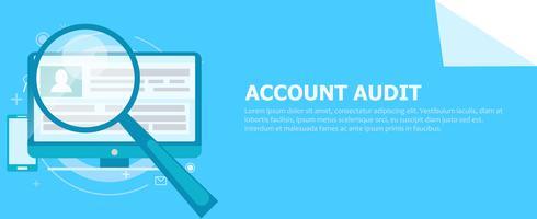 Account audit banner. Een computer met een vergrootglas wees erop. Platte vectorillustratie