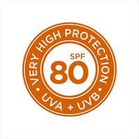 UV, zonwering, zeer hoge SPF 80 vector
