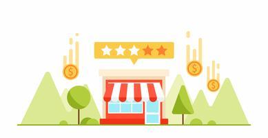 Feedback en getuigenissen van uw kleine businness. Geld en munten. Platte vectorillustratie vector