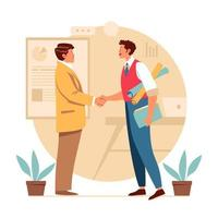 zakenman handdruk voor samenwerking vector