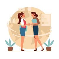 zakenvrouw handdruk voor samenwerking vector