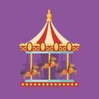 Funfair carnaval vlakke afbeelding. Pretparkillustratie van een rode en gele carrousel met paarden bij nacht
