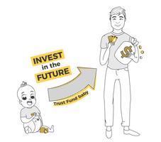 Trustfonds voor baby. Investeer in de toekomst van uw kind. Groei van kapitaal voor universiteit en bedrijfsleven. Vector lijn kunst illustratie