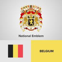 België Nationaal embleem, kaart en vlag vector